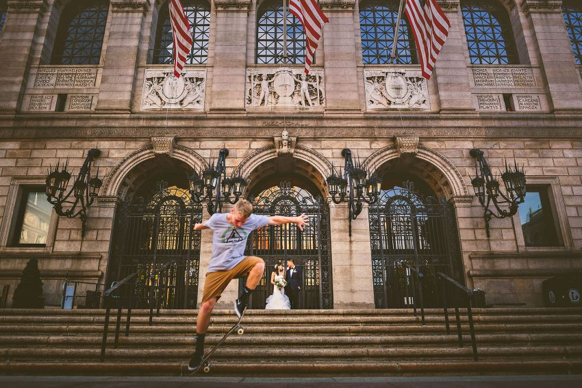 BPL wedding portraits with skateboarders