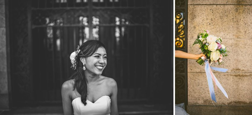 bridal portraits in front of Boston Public Library