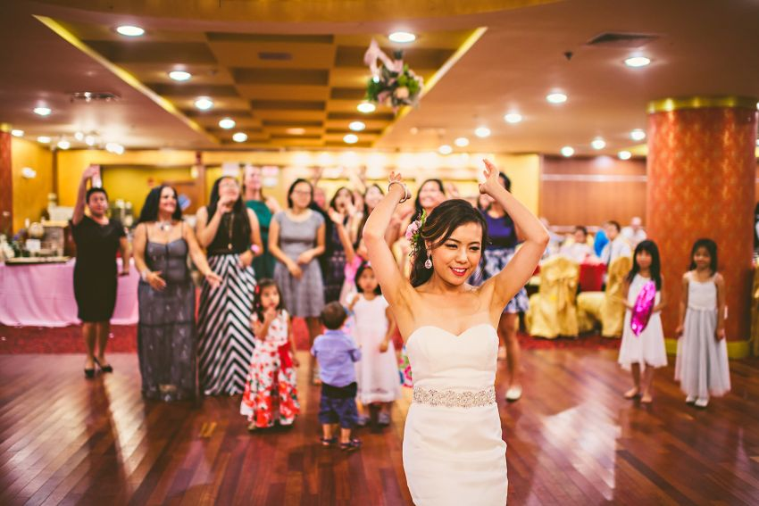 Hei La Moon wedding bouquet toss
