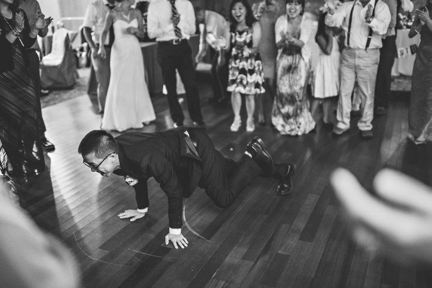 Wedding guests breakdancing