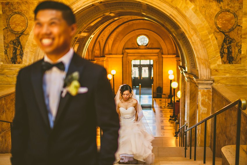 Boston Public Library wedding first look