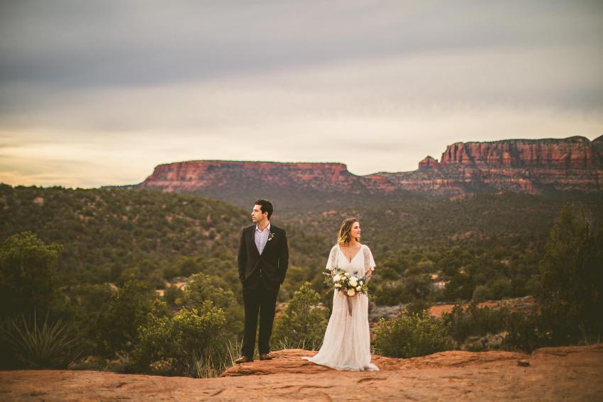 Bride and groom in Sedona