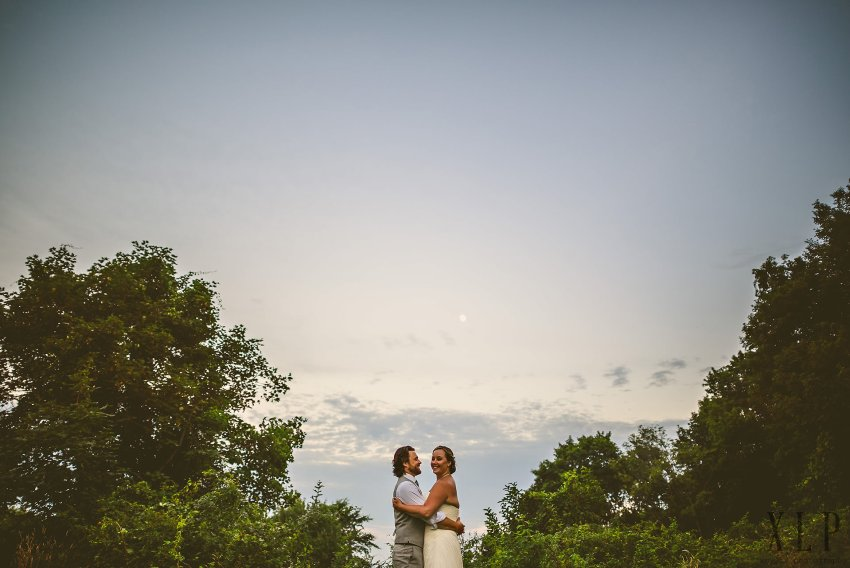 Sunset wedding portrait at Roger Williams University