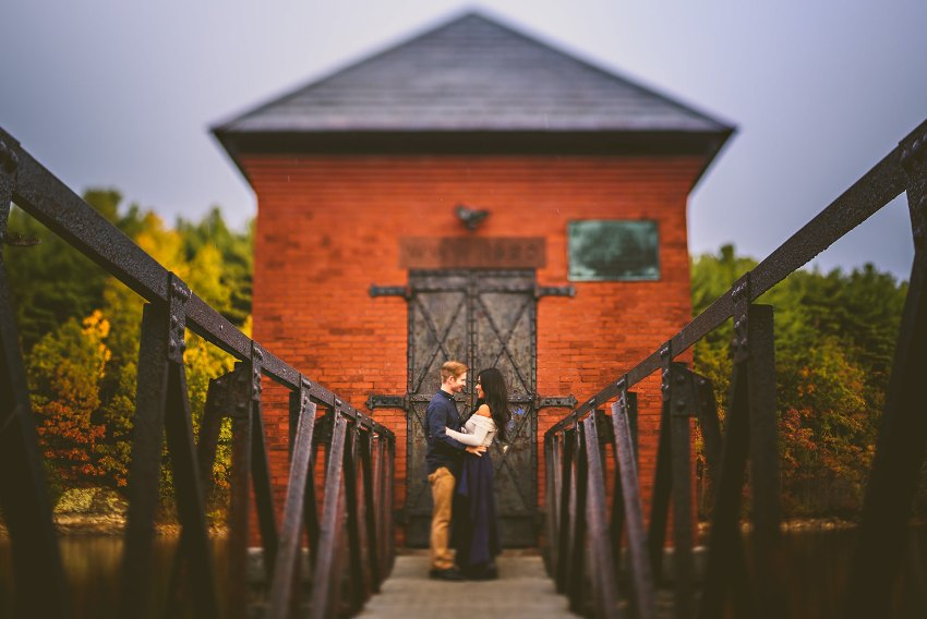Colorful fall engagement photo