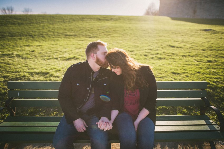 Engagement portraits on bench