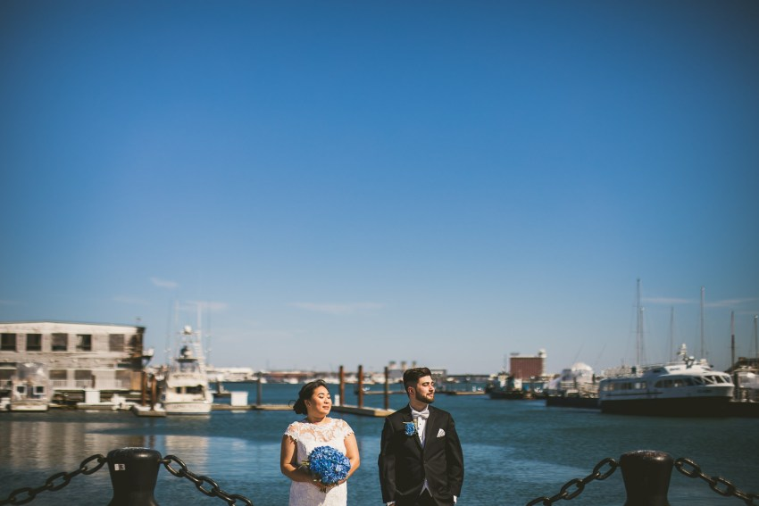 Boston harbor wedding portrait