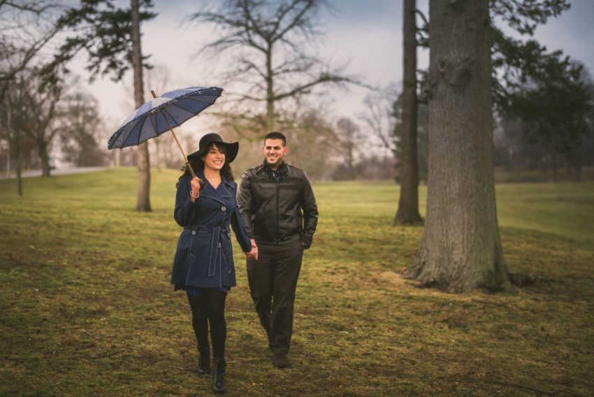Engagement photos with parasol