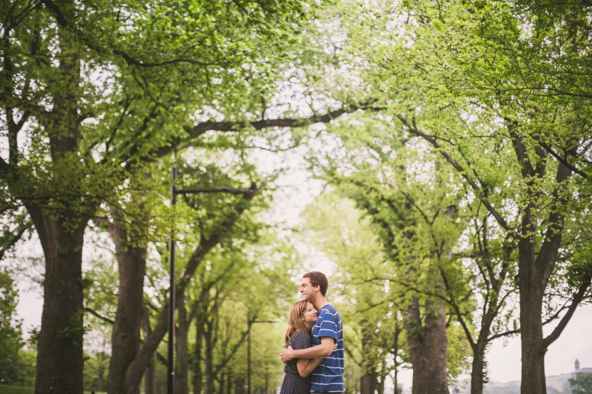 National Mall couple portraits under trees