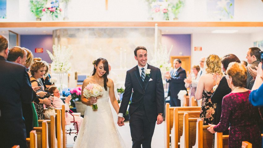 Happy NH wedding exit