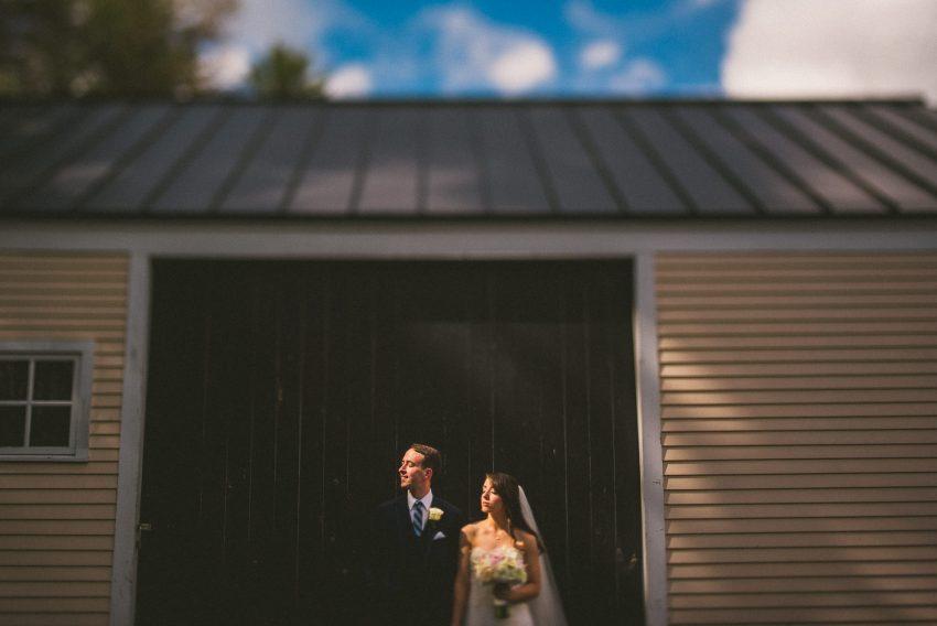 Dramatic Bedford Village Inn wedding portrait