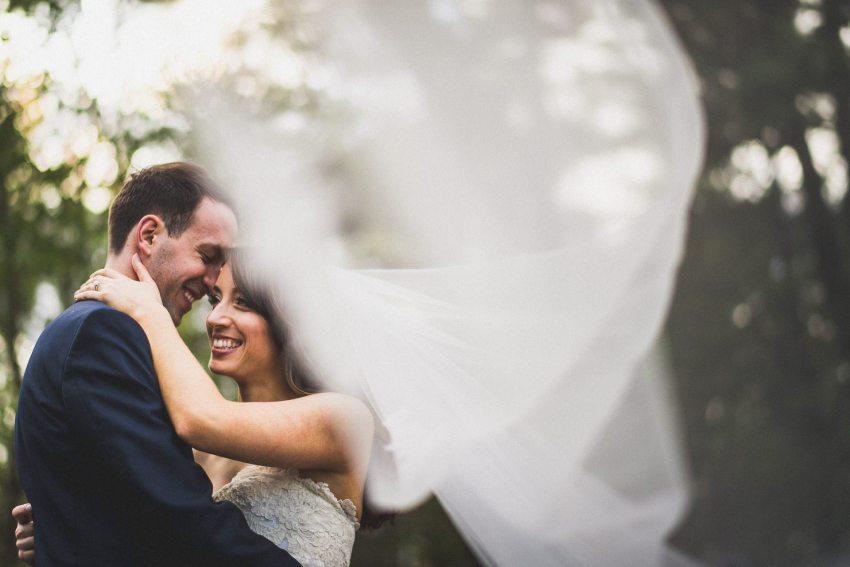 Epic veil wedding portrait