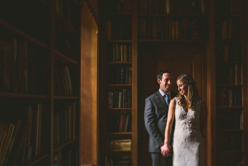 Moody library wedding portraits
