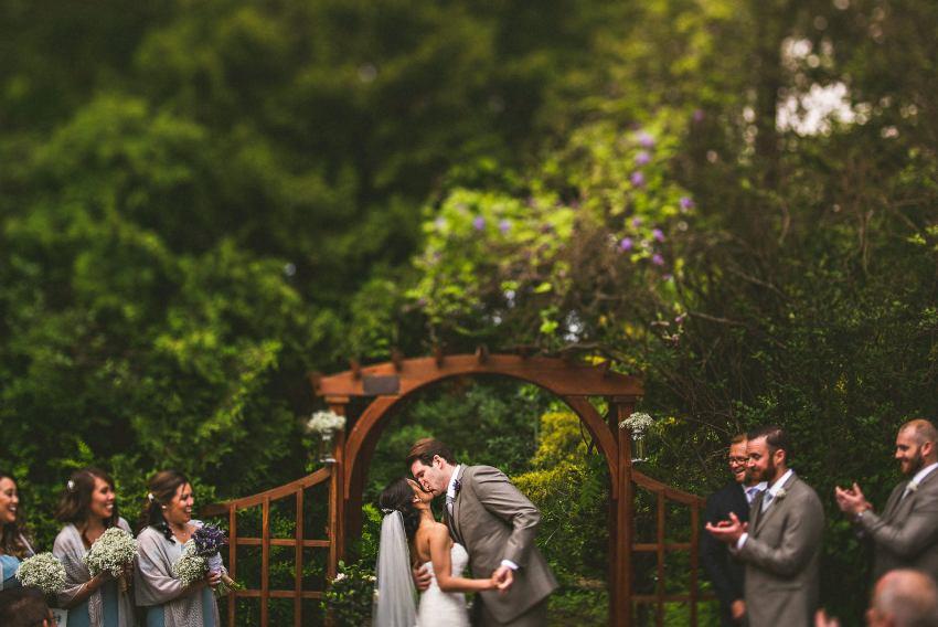 Brooksby farm wedding kiss