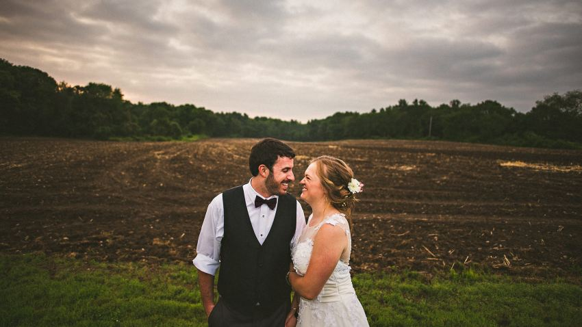 Camp wedding portrait on farm