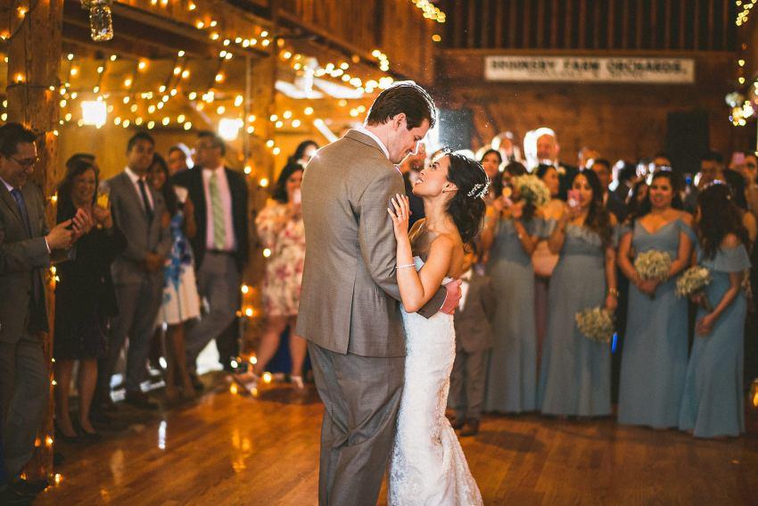 Wedding first dance in barn