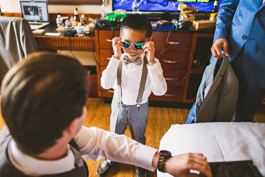 Ringbearer with sunglasses