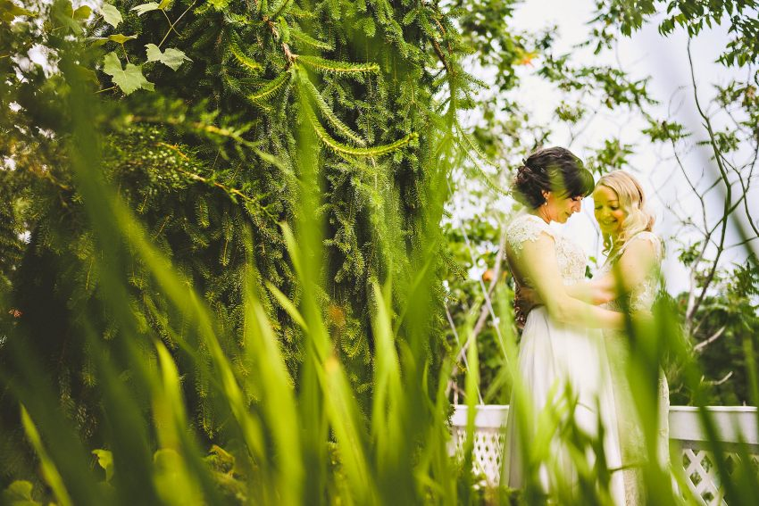 Kittery wedding picture through grass