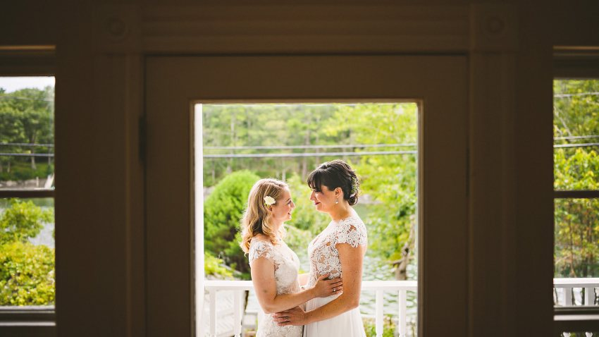 Bridal portrait through window