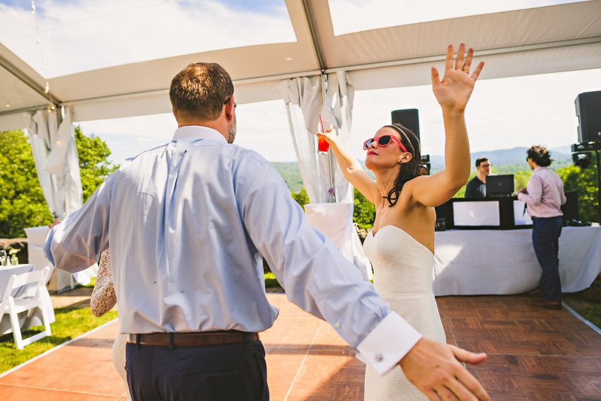 Bride dancing before wedding