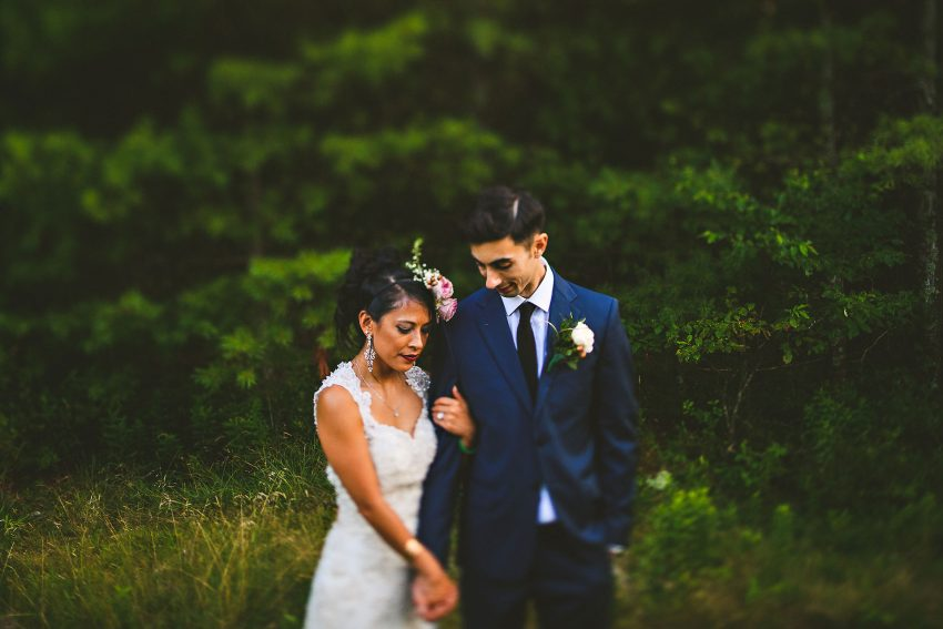 Sweet wedding picture in backyard