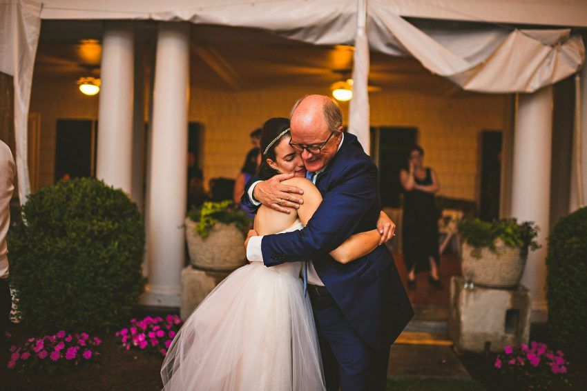 Bride hugging father at Tanglewood wedding