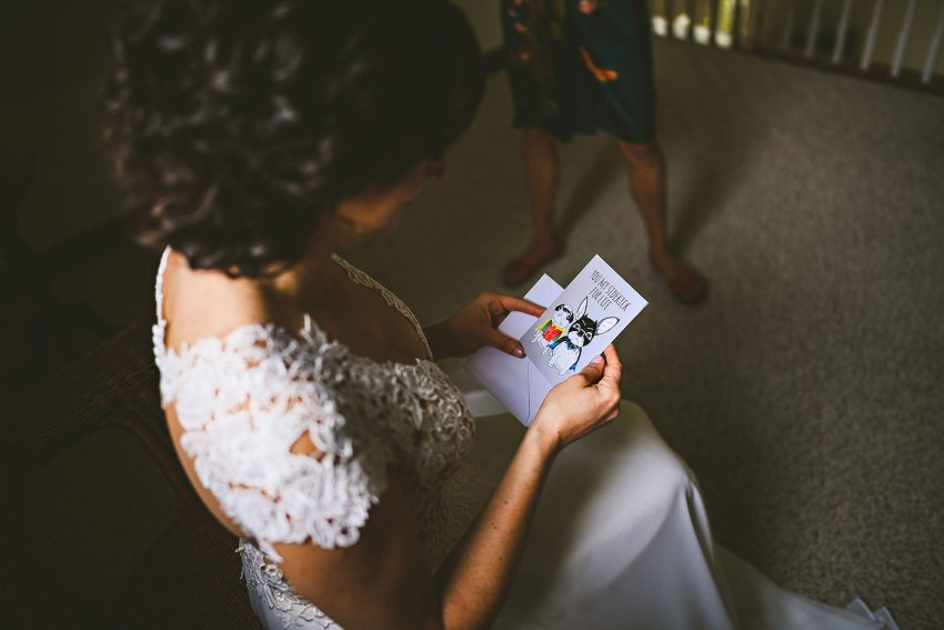 Bride reading card