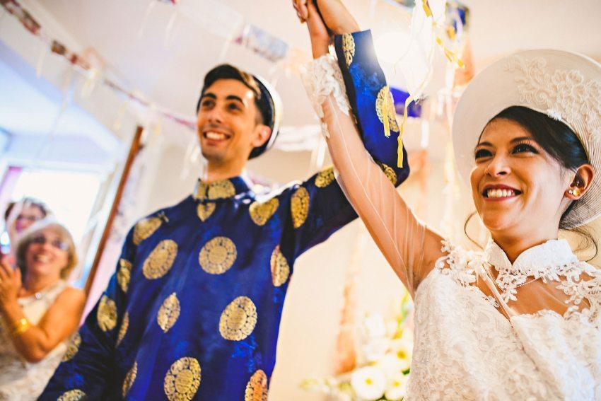 Vietnamese wedding couple married