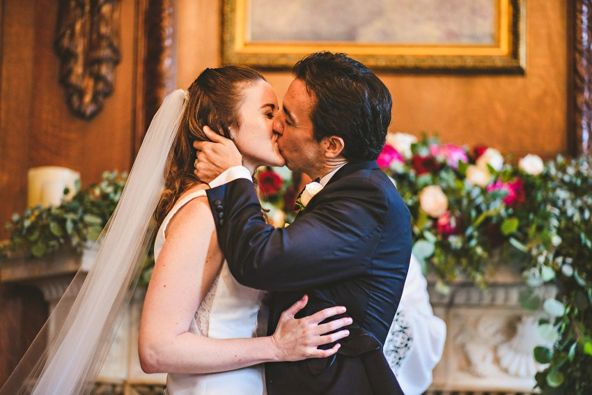 Hampshire House wedding kiss