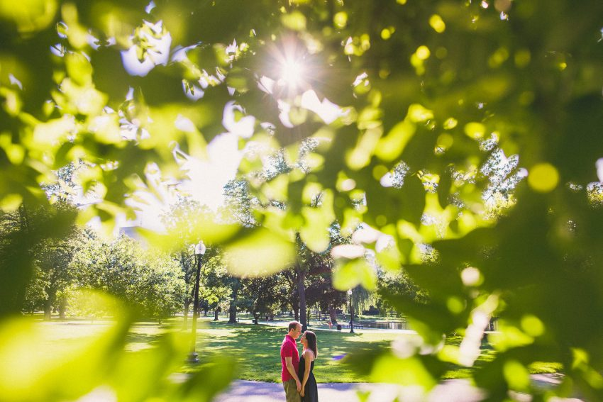 Sunrise Boston Public Garden engagement pictures