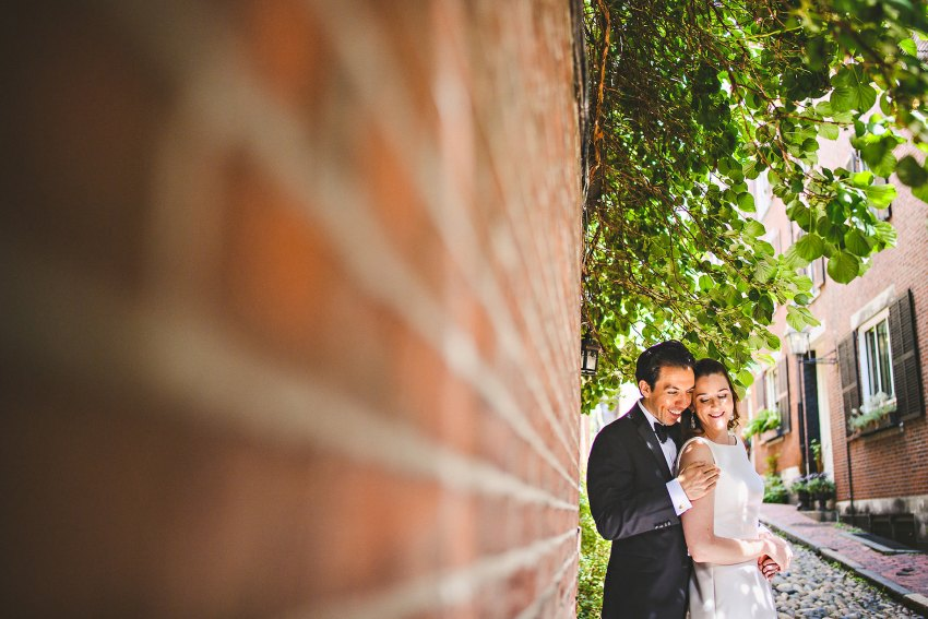 Beacon Hill Acorn Street wedding portrait