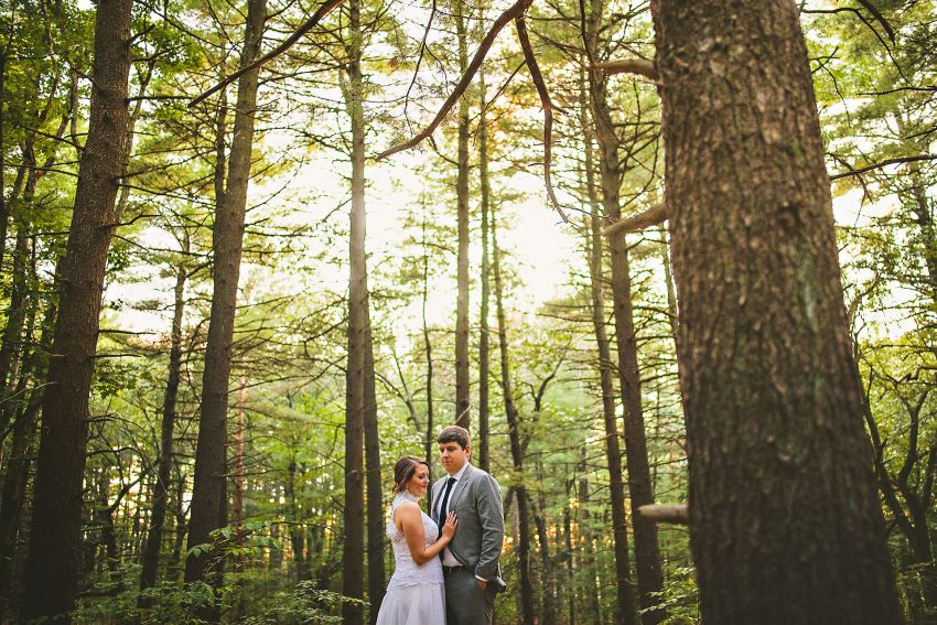 Dramatic forest wedding portrait