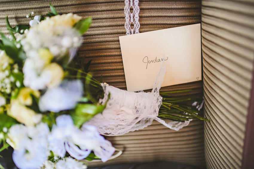 Bridal bouquet and card for groom
