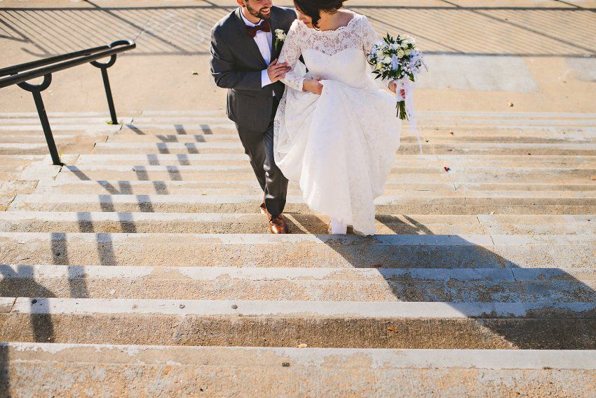 Wedding portraits on the stairs
