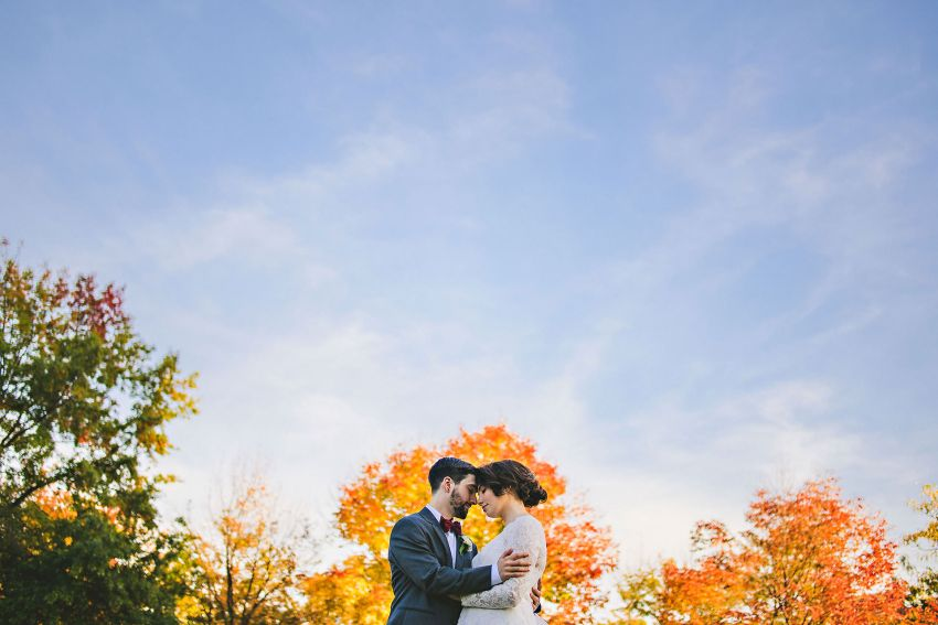 NH wedding portrait with fall foliage