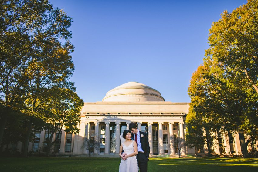 MIT dome wedding portrait