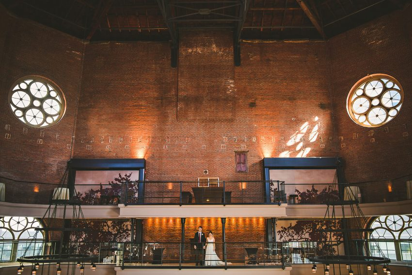 Dramatic Liberty Hotel atrium wedding photo