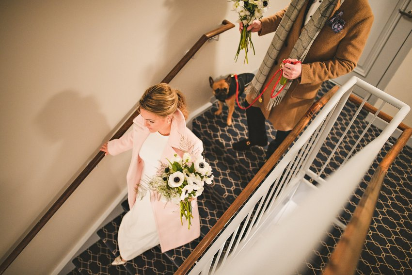 Bride and groom taking the stairs with dog