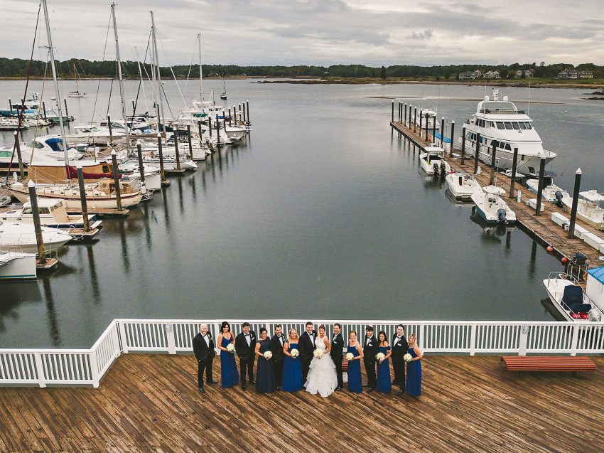 Wedding Party by boating dock
