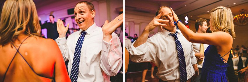 Groom dancing with friends