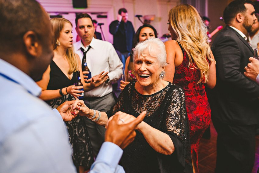 Elderly wedding guests dancing