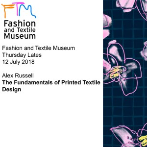 Cover slide for talk at the Fashion and Textile Museum, London (UK), by Alex Russell