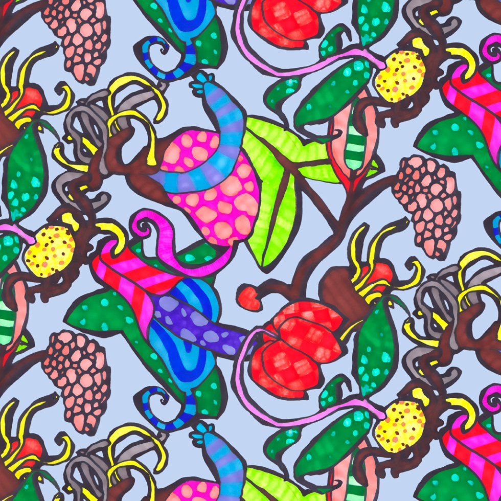 """Pattern and print design from the Lambic Chapeau collection for """"The Fundamentals Of Printed Textile Design"""" by Alex Russell"""