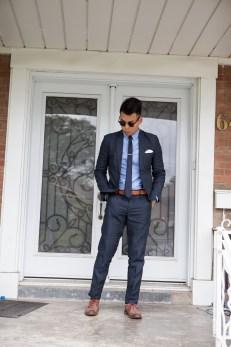 Summer Wedding Attite - H&M Linen Suit, Old Navy OCBD, Allen Edmonds Neumok