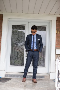 Summer Wedding Attite - H&M Linen Suit, Old Navy OCBD, Allen Edmonds Neumok