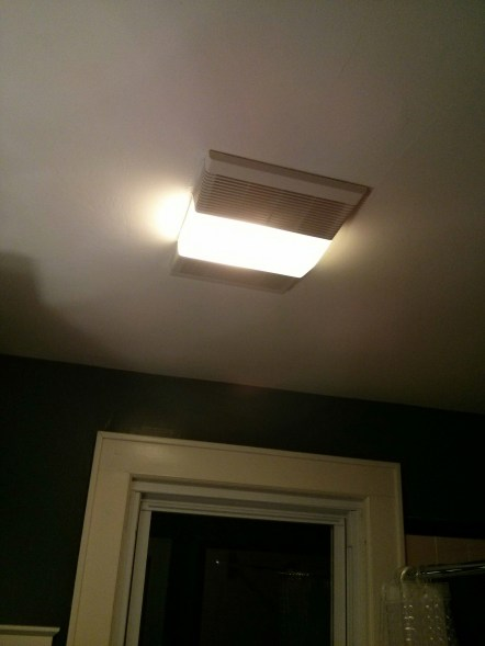 Before. A standard bathroom fan light