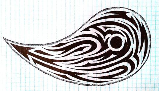 Чёрно-белая абстракция в виде капли