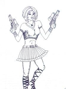 Набросок девушка с пистолетами