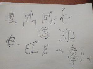 скетчи при разработке логотипа дракон