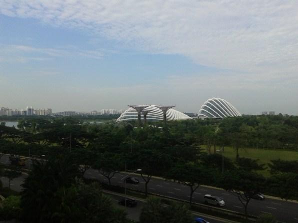Flower Domes of the Gardens by the Bay. Слева виды оранжереи Цветочный купол и Тропический лес.