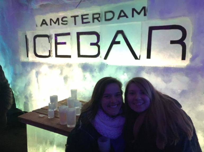 Allie and I at the Amsterdam Ice Bar